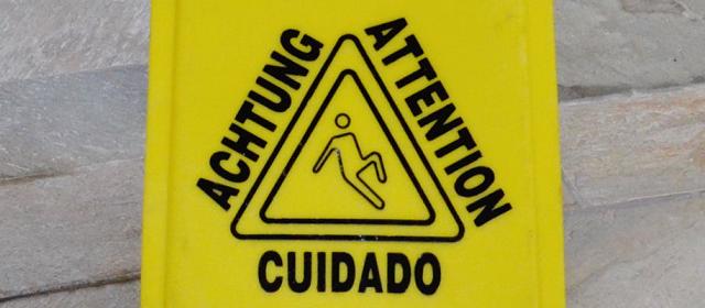 注意喚起の標識の写真