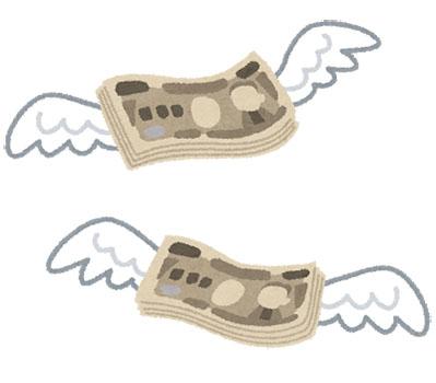 お金に羽が生えた画像