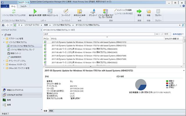 ソフトウェア更新プログラムの一覧画面