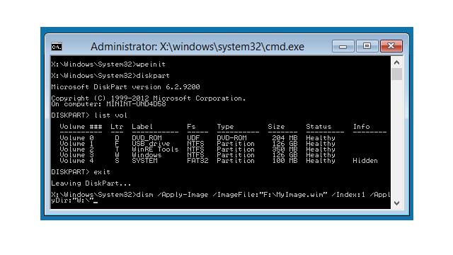 Windows PEの画面
