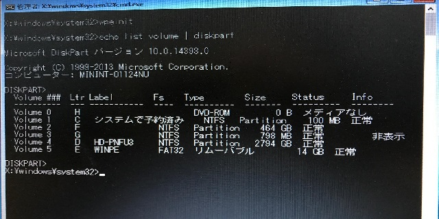 WindowsPEのスクリーンショット